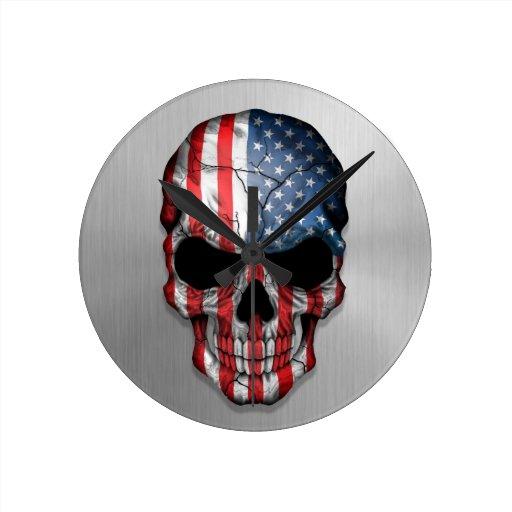 Bandera de los Estados Unidos en un gráfico de ace Reloj Redondo Mediano
