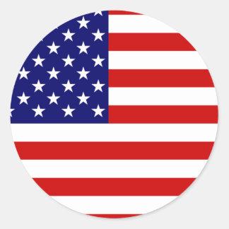 Bandera de los Estados Unidos Pegatina Redonda
