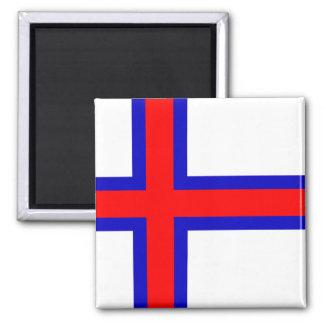 Bandera de los Faroe Island Imán Cuadrado