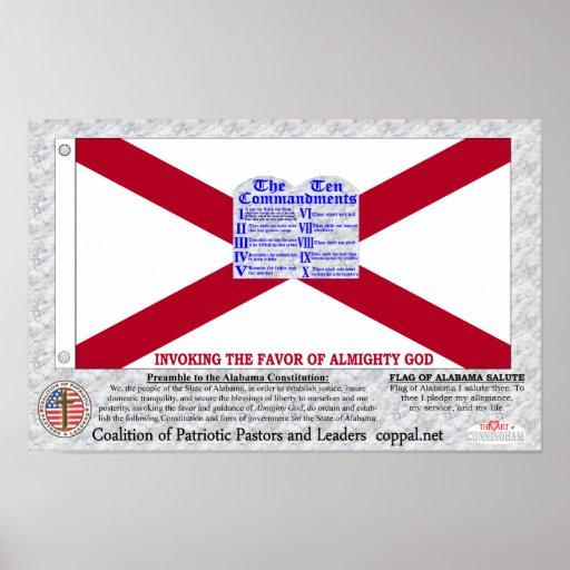 Bandera de los mandamientos de Alabama diez Póster