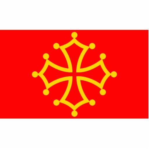 Bandera de los Midi-Pirineos, Francia Fotoescultura Vertical