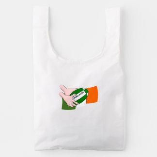 Bandera de los partidarios del equipo del rugbi de bolsa reutilizable