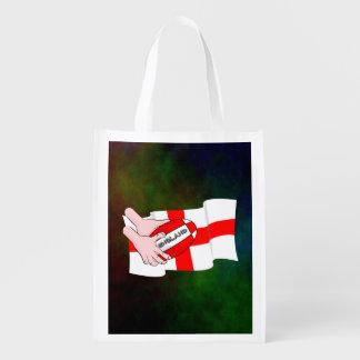 Bandera de los partidarios del equipo del rugbi de bolsas reutilizables