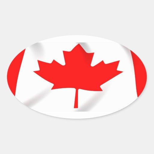 Bandera de los pegatinas del óvalo de Canadá Pegatina Ovalada