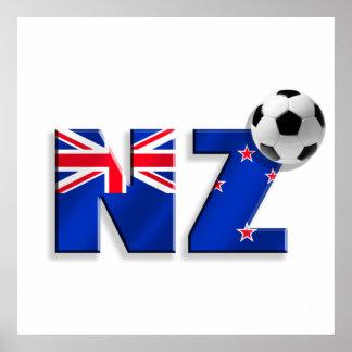 Bandera de los regalos del balón de fútbol de NZ d Póster