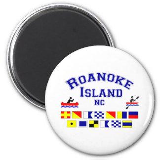 Bandera de los Sig del NC de la isla de Roanoke Imán Redondo 5 Cm