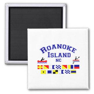 Bandera de los Sig del NC de la isla de Roanoke Imán Cuadrado