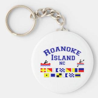 Bandera de los Sig del NC de la isla de Roanoke Llavero Redondo Tipo Pin