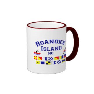 Bandera de los Sig del NC de la isla de Roanoke Taza A Dos Colores
