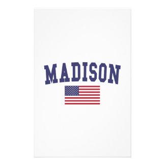 Bandera de los WI los E.E.U.U. de Madison Papelería Personalizada