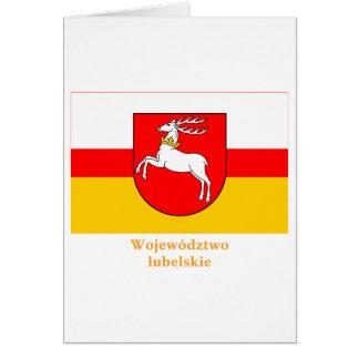 Bandera de Lubelskie - de Lublin con nombre Tarjeta De Felicitación