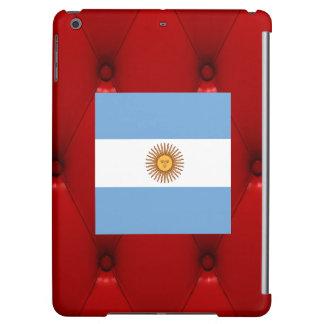 Bandera de lujo de la Argentina en fondo rojo del