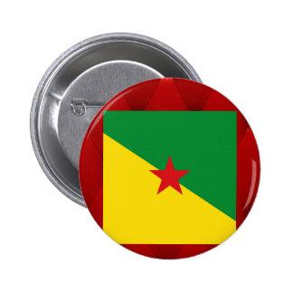Bandera de lujo de la Guayana Francesa en fondo Pin Redondo 5 Cm