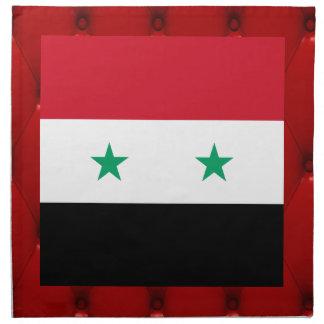 Bandera de lujo de Siria en fondo rojo del Servilleta