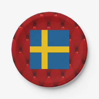 Bandera de lujo de Suecia en fondo rojo del Plato De Papel De 7 Pulgadas