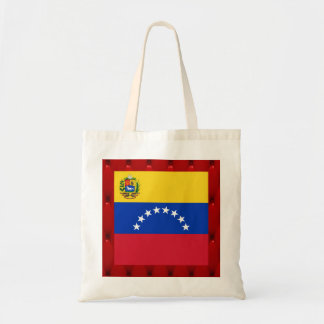 Bandera de lujo de Venezuela en fondo rojo del Bolsa Tela Barata