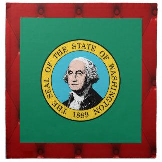 Bandera de lujo de Washington en fondo rojo del Servilletas