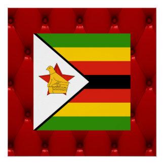 Bandera de lujo de Zimbabwe en fondo rojo del Perfect Poster