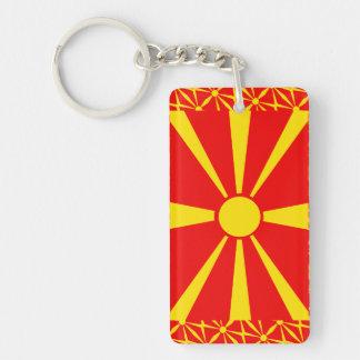 Bandera de Macedonia Llavero Rectangular Acrílico A Una Cara