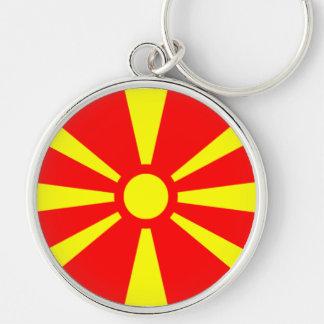 Bandera de Macedonia Llavero Redondo Plateado