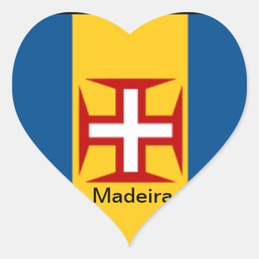 Bandera de Madeira Pegatina En Forma De Corazón