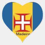 Bandera de Madeira Pegatinas De Corazon