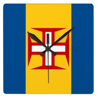 Bandera de Madeira Reloj Cuadrado
