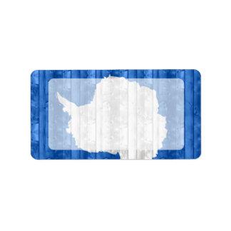Bandera de madera de Antartican Etiquetas De Dirección