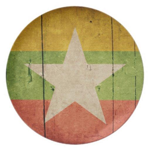 Bandera de madera de Birmania Platos