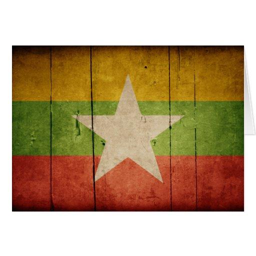 Bandera de madera de Birmania Tarjetón