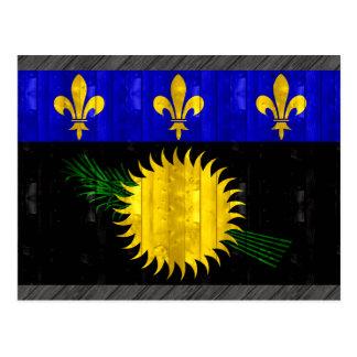Bandera de madera de Guadeloupean Tarjeta Postal