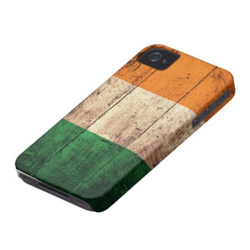Bandera de madera de Irlanda iPhone 4 Coberturas