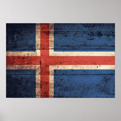 Bandera de madera de Islandia Impresiones