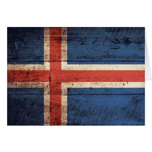Bandera de madera de Islandia Tarjeta Pequeña