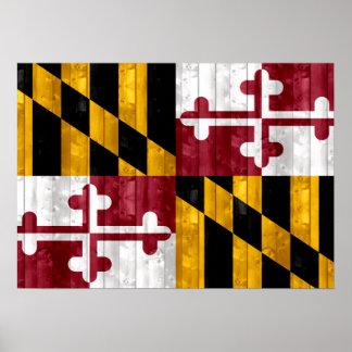 Bandera de madera de Marylander Posters