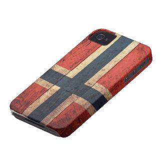 Bandera de madera de Noruega iPhone 4 Case-Mate Funda