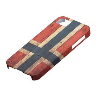 Bandera de madera de Noruega iPhone 5 Carcasas