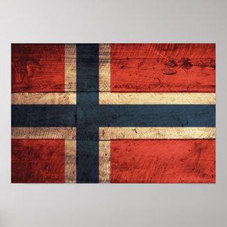 Bandera de madera de Noruega Posters