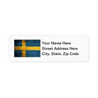 Bandera de madera de Suecia Etiquetas De Remite
