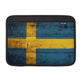 Bandera de madera de Suecia Funda Macbook Air