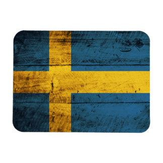 Bandera de madera de Suecia Iman De Vinilo