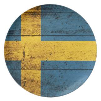 Bandera de madera de Suecia Plato De Cena