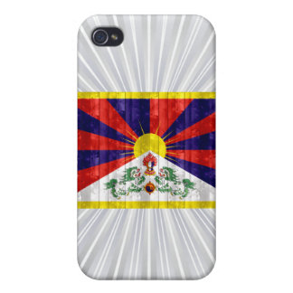 Bandera de madera de Tibetese iPhone 4 Carcasa