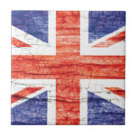 Bandera de madera de Union Jack Británicos (Reino  Azulejos