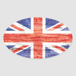 Bandera de madera de Union Jack Británicos (Reino Calcomanía De Ovaladas