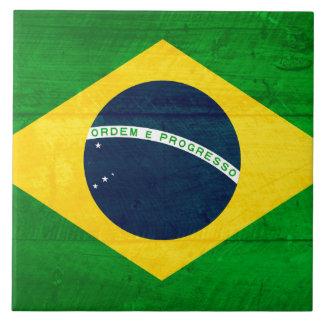 Bandera de madera del Brasil Azulejo Cuadrado Grande