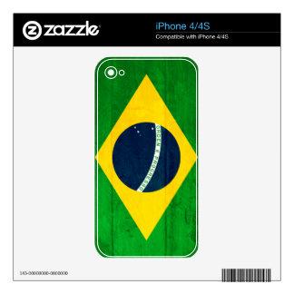Bandera de madera del Brasil Calcomanía Para iPhone 4