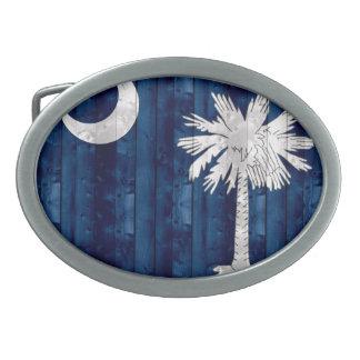 Bandera de madera del Carolinian del sur Hebillas Cinturon Ovales