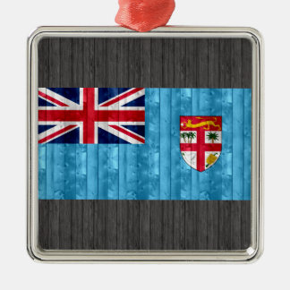 Bandera de madera del Fijian Adorno Cuadrado Plateado