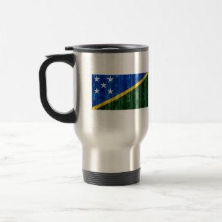 Bandera de madera del isleño de Solomon Tazas De Café
